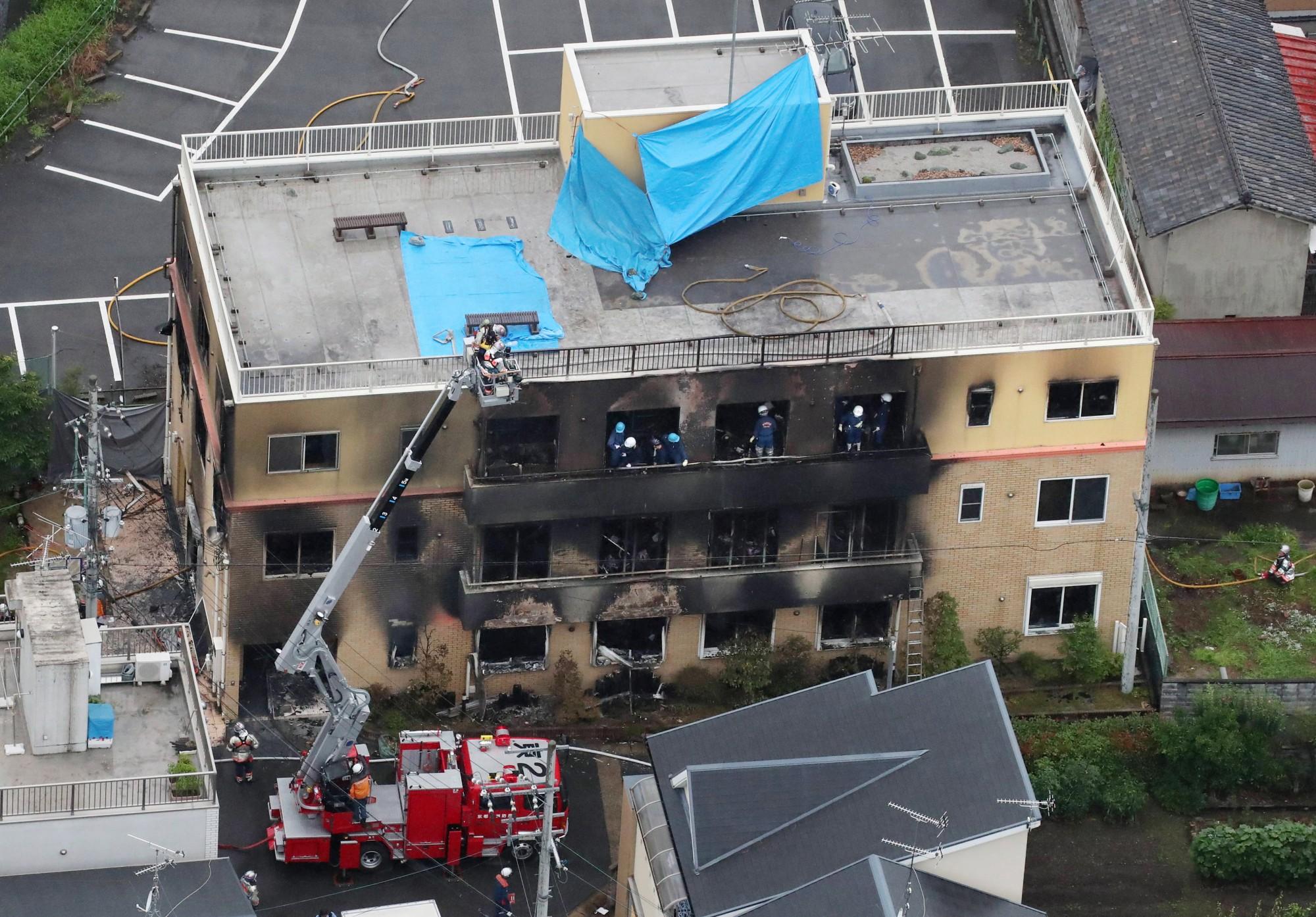 日本知名動畫製作公司「京都動畫」位於京都市伏見區的工作室,昨日發生震驚全球的縱火事件,至今已釀33死、36傷。(歐新社)