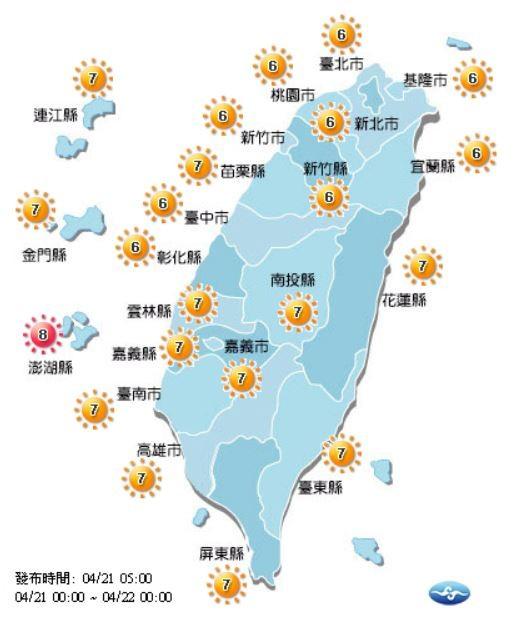 今日紫外線預報概況。(圖擷取自中央氣象局)