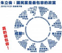 朱說國民黨最包容 網友用「文字黨徽」打臉