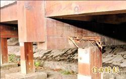 貓羅溪自行車道腐朽 鐵鍊封鎖