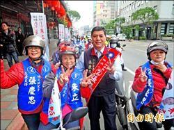 張慶忠機車拜票 江永昌徒步掃街