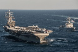 美韓10月黃海軍演  核動力航母「雷根號」參訓
