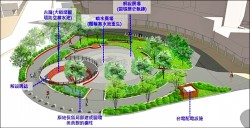 拆建成圓環留蓄水池 打造地景廣場