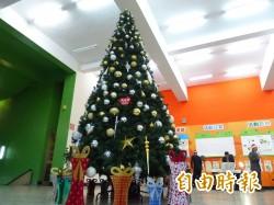 校友感恩捐贈 明新科大5米高檔耶誕樹亮燈