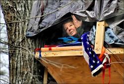 擋天然氣管 美婦人長住樹屋護家園
