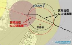北部風雨不如預期?  專家:颱風登陸前「北漂」20KM