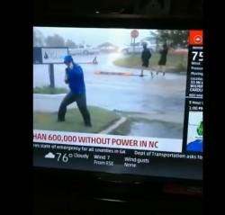 眼睛業障重?美記者險被颶風吹倒 背後路人竟輕鬆散步