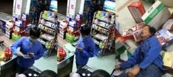 強國男亮刀搶劫雜貨店 被壯碩老闆暴打到昏厥