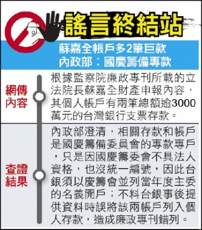 《謠言終結站》蘇嘉全帳戶多2筆巨款 內政部澄清︰國慶籌備專款