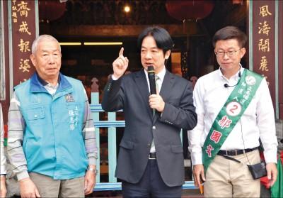台南立委補選》陪郭國文掃街 賴喊別分裂