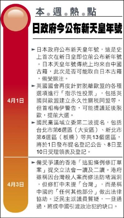 《本週熱點》日政府今公布新天皇年號
