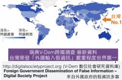 菜市場政治學》台灣「接收境外假資訊」嚴重程度被專家評為世界第一+V-Dem資料庫簡介