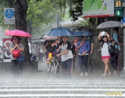 4縣市豪大雨特報!各地持續有陣雨