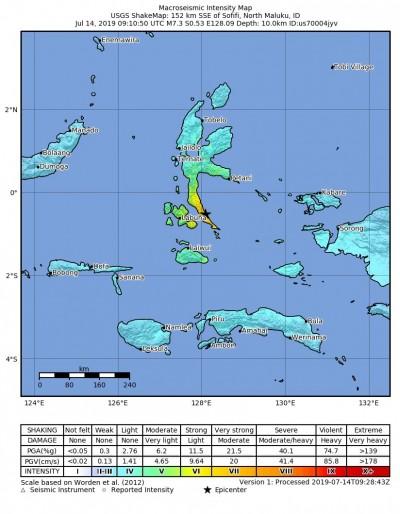 印尼發生規模7.3極淺層地震 未傳出傷亡