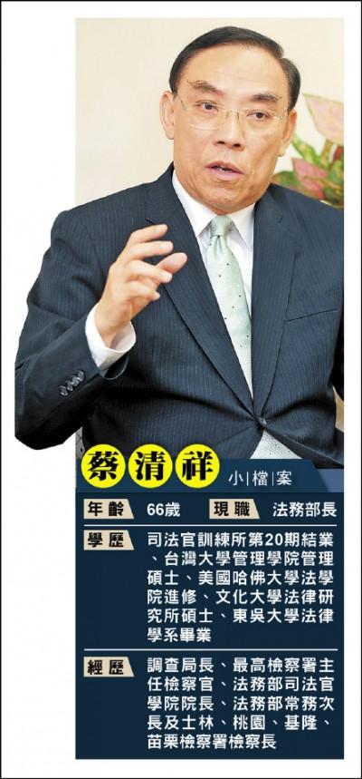 星期專訪》法務部長蔡清祥︰強化反滲透 防假訊息亂大選