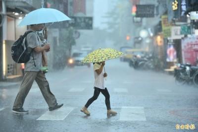 上班注意!氣象局對12縣市發布豪雨、大雨特報