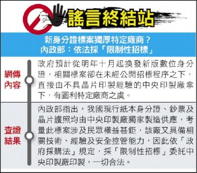 謠言終結站》新身分證標案獨厚特定廠商?內政部:依法採「限制性招標」