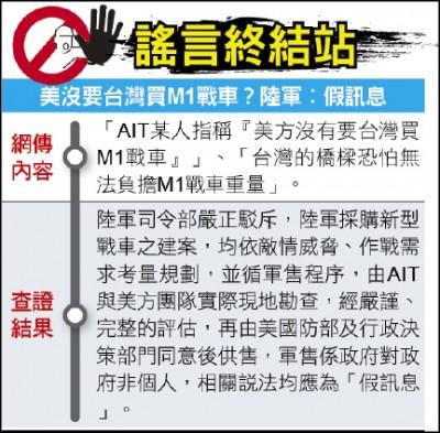 謠言終結站》美沒要台灣買M1戰車?陸軍︰假訊息
