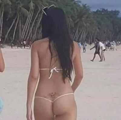 台灣正妹長灘島穿太暴露挨罰 「一條線」比基尼真相曝光