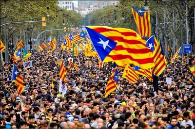 加泰示威第五天 逾50萬人上街