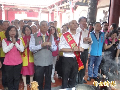 韓國瑜參拜台南大天后宮:可以推廣愛情產業鏈