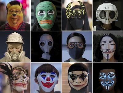 香港人反抗》無視禁蒙面惡法 港人以各種臉譜反擊