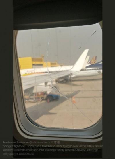 扯!印度廉航飛機窗裂 僅用透明膠帶貼上...