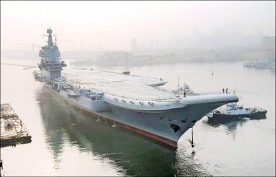 中國首艘自製航艦 現身台海