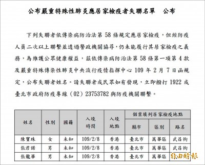 武漢肺炎》居家檢疫填假資料 雙北首度公布名單