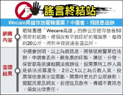 謠言終結站》Wecare高雄存放罷韓選票?中選會:假訊息送辦
