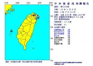 宜蘭連3震 清晨地牛翻身規模4.5