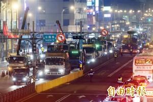 拆忠孝西公車專用道 機具、人員晚間進駐