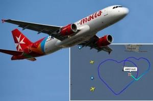 超浪漫班機 高空「飛」出大愛心