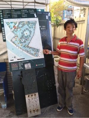 6塊各百公斤鐵製指示牌 慣竊機車載運銷贓