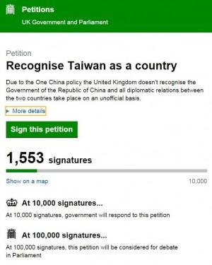 國外網友發起連署 要求英國承認台灣是國家