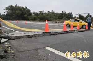 內門東勢埔橋引道下陷 下午起限重、限速通行
