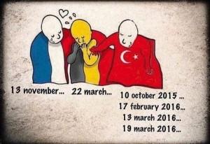 別忘了土耳其也遭恐攻!網友繪土法比三國擁抱圖