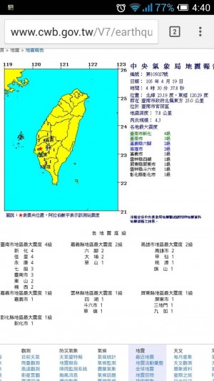 台南清晨地牛翻身 氣象局:為南台地震的餘震