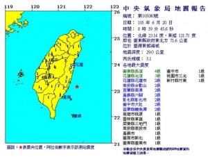 台東外海08:39發生規模5.1地震 最大震度4級