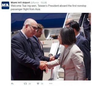 邁阿密機場推特:歡迎「台灣總統」蔡英文