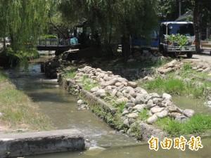 竹北公3水圳工程 打掉生態砌石惹議