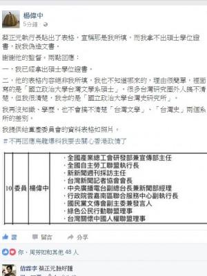 遭蔡正元質疑碩士學歷造假 楊偉中po文反擊