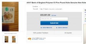 5英鎊鈔票拍賣價竟破6萬5? 原來是這原因...