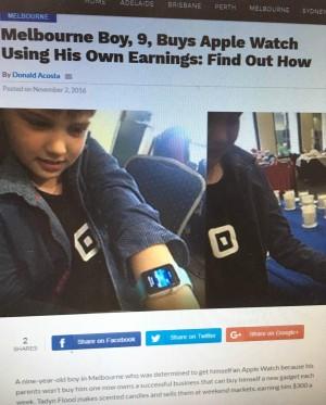 帥!父母不願買蘋果手錶 澳男童擺攤賣蠟燭自賺