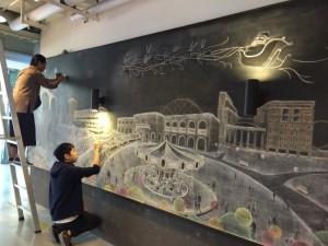 建築系學生8米黑板畫耶誕校園 同學讚:太強了