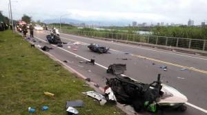 新莊越堤道傳追撞事故 5人受傷送醫