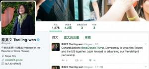 美國總統就職 蔡英文推特發文:恭喜川普