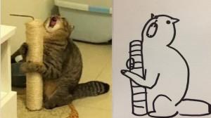 這張「0分」作業被瘋傳 真相竟然引爆「獵奇貓咪」插畫熱