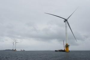 全球首座漂浮式風力發電 水下100~700米作業