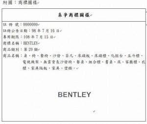 「BENTLEY」成家具 賓利汽車提告廢止敗訴